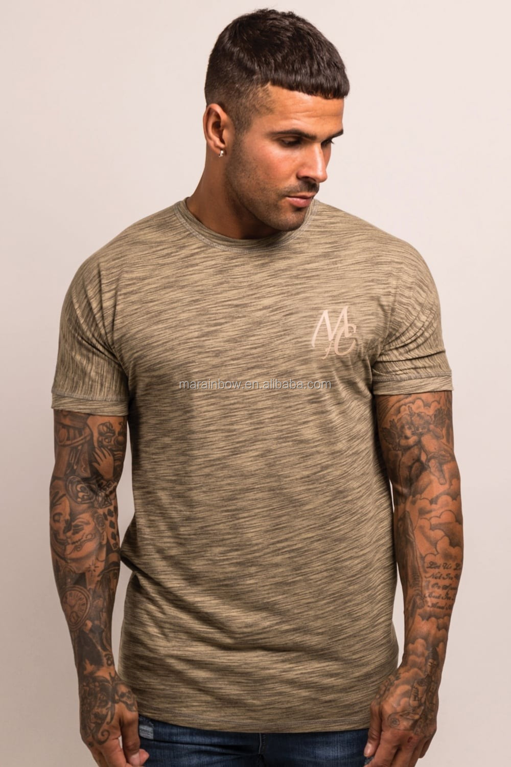 Premium Space Dye Short Sleeve Gym Fitted T Shirt Heather Polyester Spandex Dry Fit Custom T Shirt Wholesale Fitness T Shirt