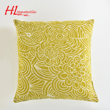 HLHT competitive price yellow jacquard cushion,cushions home decor