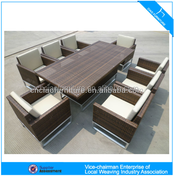 Luxury outdoor furniture elegant rattan patio wicker dining <strong>table</strong> and chair (CF608)