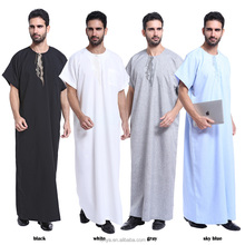 Excellent quality men muslim kaftan jubah top sell men wear kaftan kimono abaya high-end islamic dubai men's abaya