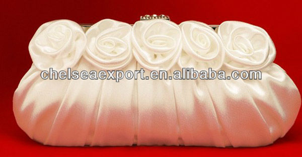 favorable rose flower lady beauty satin evening bag