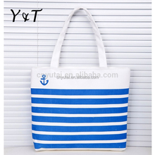 Stripe style canvas cotton tote shopping bag/girls shoulder bag