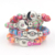 Fashion Interchangeable 4 Colors Expandable Stretch Chunky Fimo Polymer Clay Bead Snap Bracelet with Metal 18mm Button Jewelry