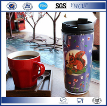 Double wall thermal plastic coffee cups with paper insert