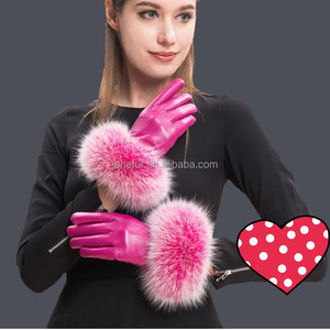 rose red leather match the fur gloves/ girls gloves with fivefingers/ sheep leather gloves