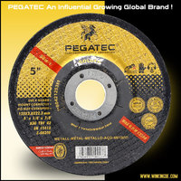 "Sharp and durable PEGATEC 5"" 125X3X22.2mm cutting disc/wheel/cut-off wheel and grinding wheels used for steel and metal"