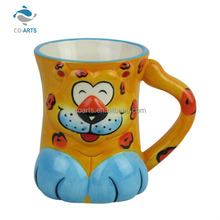 Professional cute tiger shaped ceramic tea cup for children