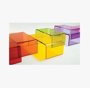 Colours Acrylic Nesting Table Coffee End Table 3pc Lucite Side Table Set