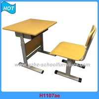 Educational Furniture School Study Desk and Chair Wood Board and Metal Frame