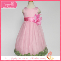 Fluffy baby pink cap sleeve dress with greeness ornament prom dress ball gown dress