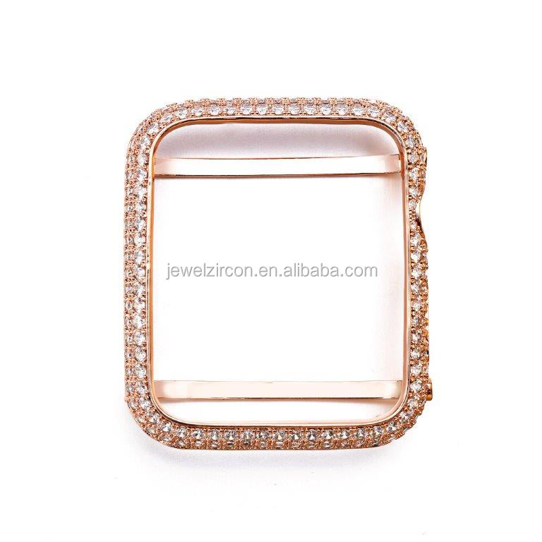 Rose Gold Finish CZ Diamond Case for Apple Watch, High Quality Watch Case