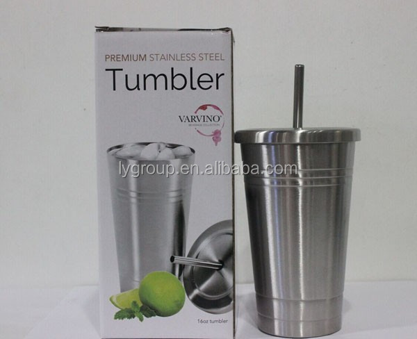 Stainless Steel Cold Cup with Logo, tumbler with straw,16ozstainless steel thermo tumbler with straw and lid