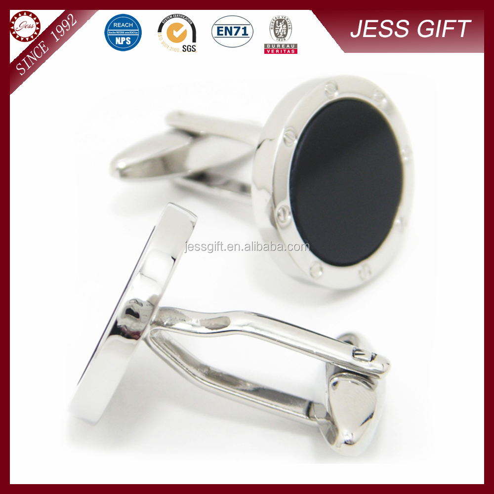 2016 Fashion Custom Square Black Enamel Cufflinks