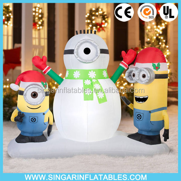 Inflatable holiday yard decorations minions snowman/outdoor snowman inflatable decorations