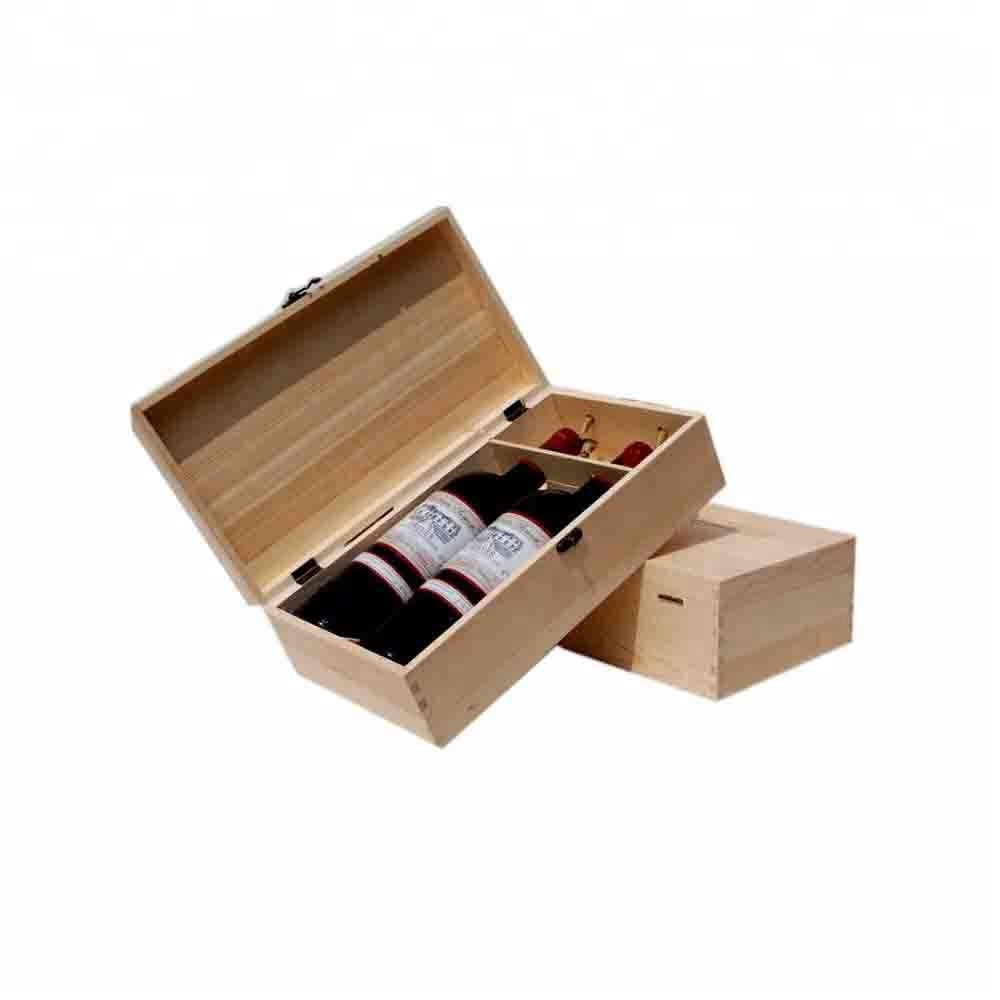 High Quality Plain Christmas Holiday Double Bottle Wooden Wine <strong>Box</strong>