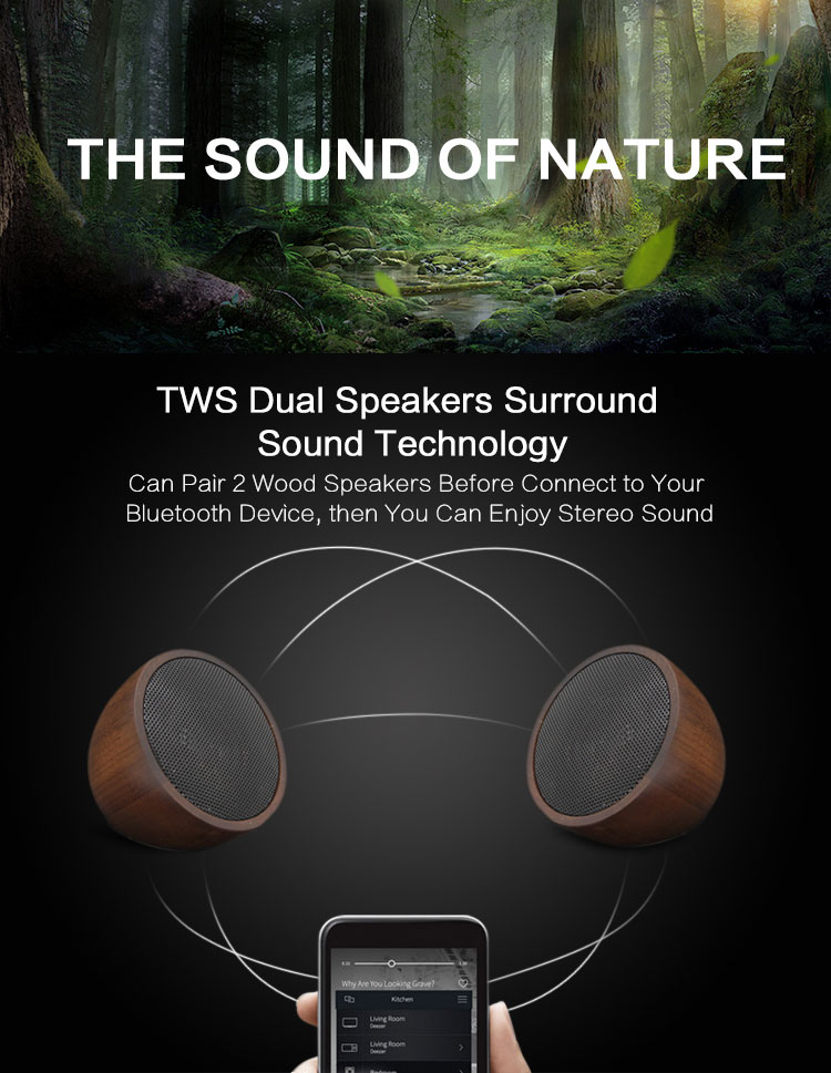High Quality Bamboo Wood BT Portable Wireless Speaker