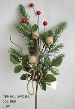 "christmas home decoration holly leaf pine needle and diy foam red berry pick 16"" branches pick"