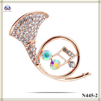Wedding Invitation Brooch Wholesale Real Gold Plating Horn Shape Brooch With Colorful Zircon