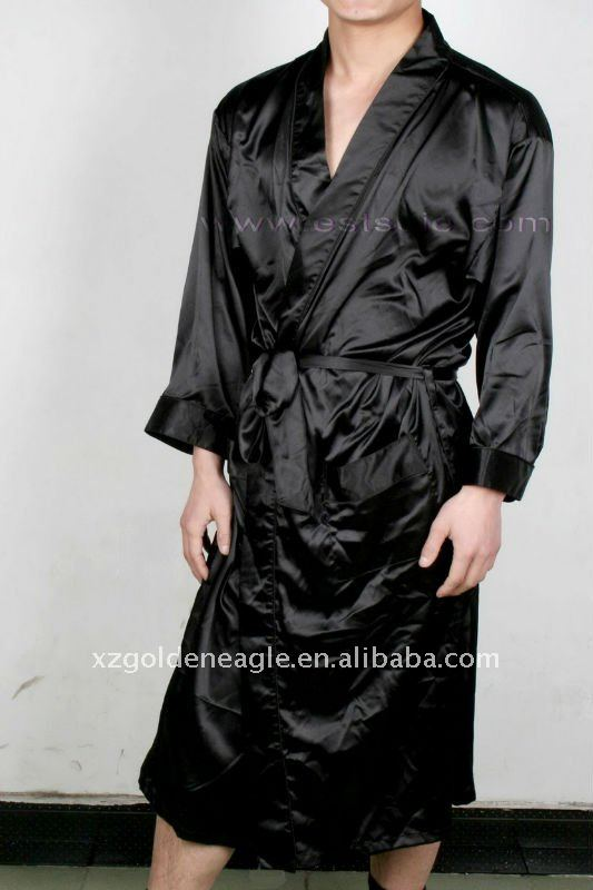 Black Men's Satin Robe