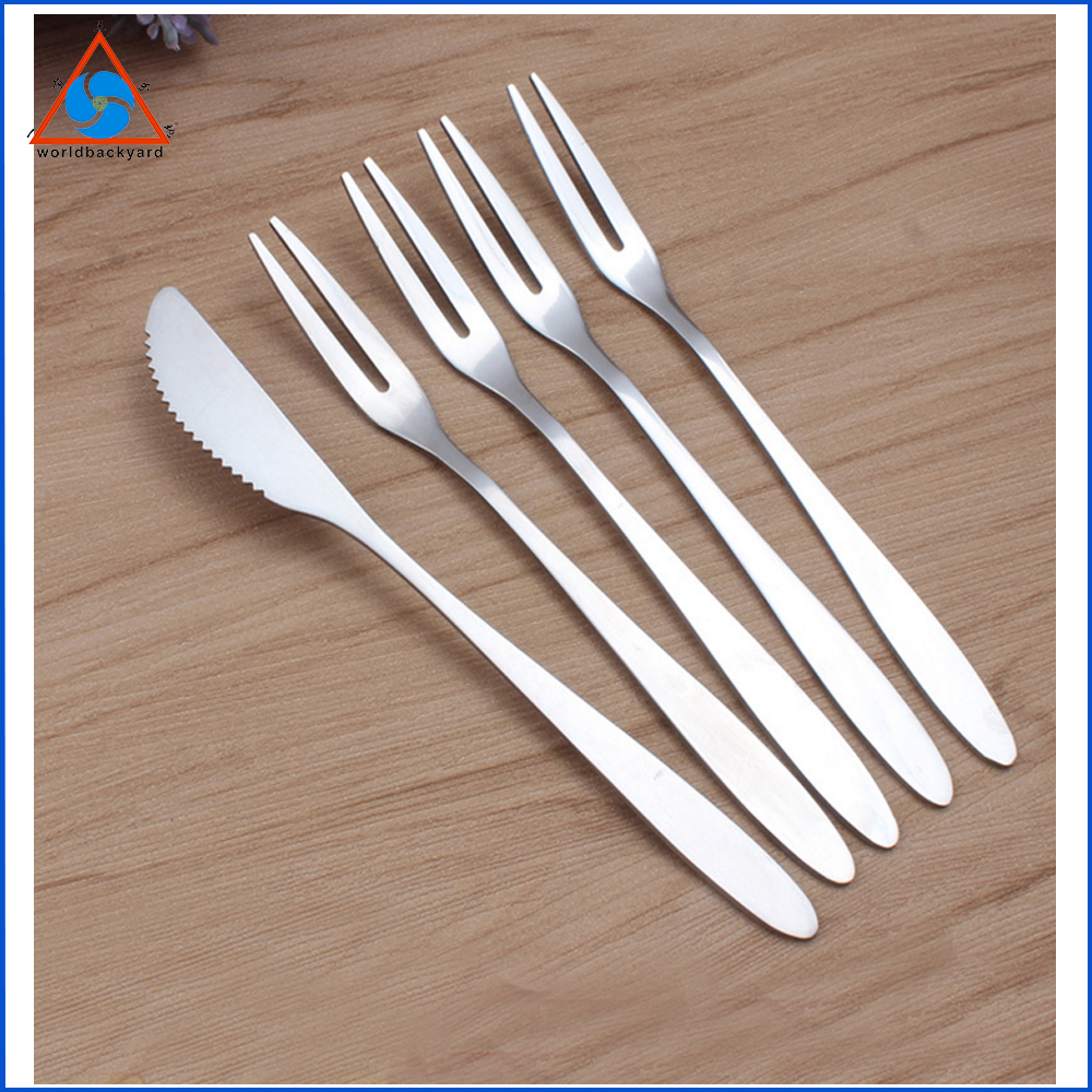 WB ZH1010 Fashion Stainless Steel Fruit Fork Two Tooth Fork and Creative Moon Cake Dessert Knife for Kitchen Serving