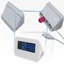 Promotion Gift Items Blue LED Color White LCD Calendar Clock Digital Alarm Clock