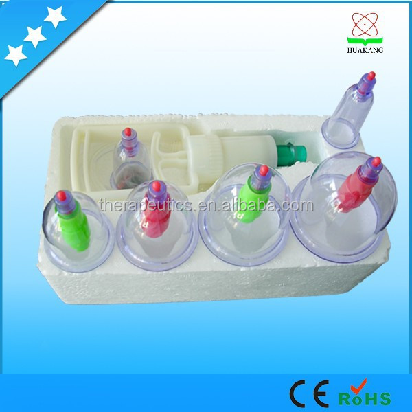 12 acupuncture cups disposable cupping hijama CE vacuum cupping made in China