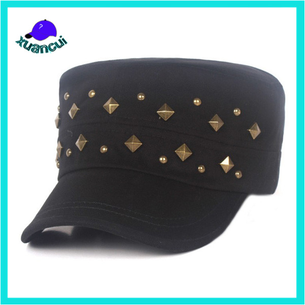 Male gender and age group army hat pure cotton adults military cap with rivet decoration