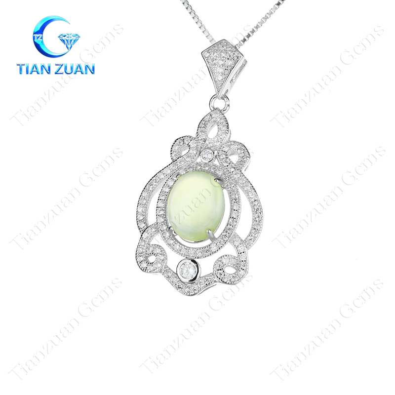 Oval Green Prehnite 925 Sterling Silver Necklace Charm Pendant Woman
