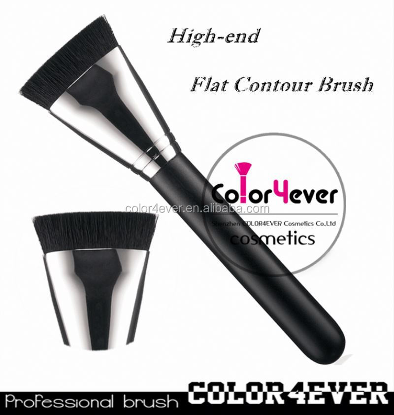 Wholesale hot sell 163 flat contour makeup brush with copper luxury makeup brush set