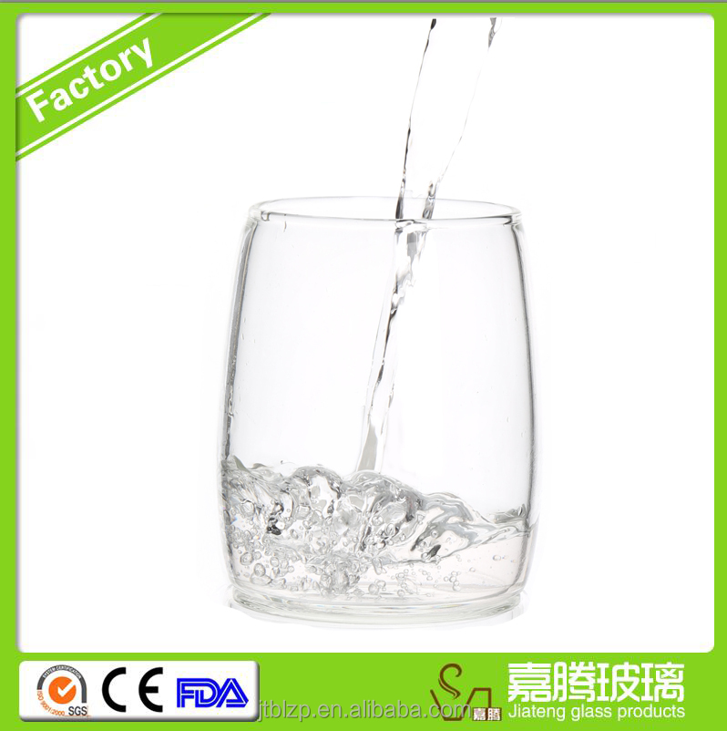 350ml BPA free Handmade clear stemless wine glass for italian wine