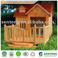 Lovely Wooden Dog House with Fence