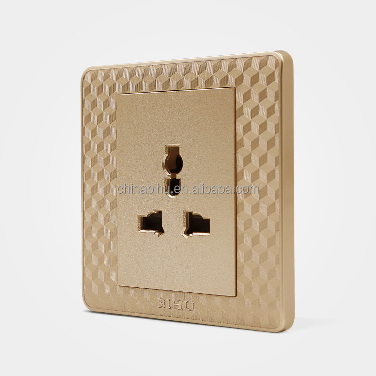 BIHU S3 series golden color 5 pin 2 hole and 3 hole universal multi <strong>plug</strong> and wall socket
