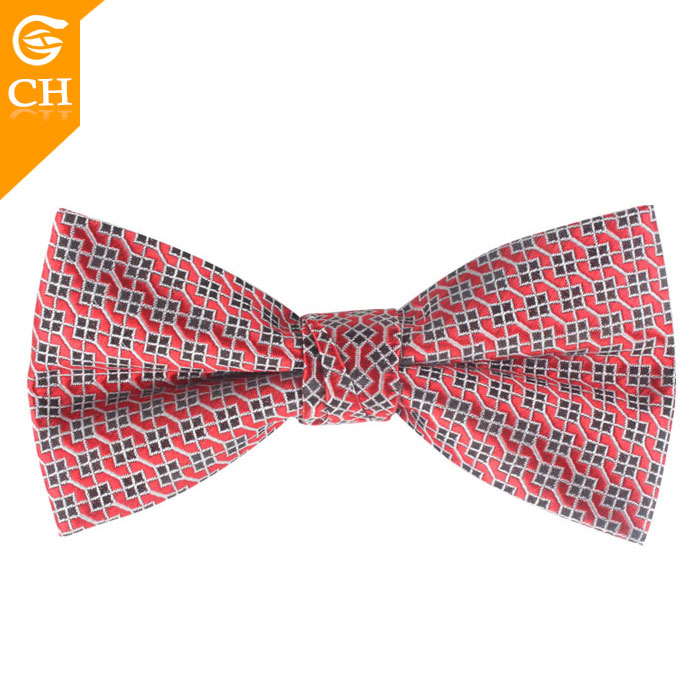 Custom Men Red Bowties 100% Polyester Woven Chinese Bow Tie Hooks