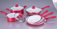 9pcs red aluminum cookware set sauce pot