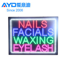 2016 Hot Sale New Design Flashing Acrylic Shop Name Business Nails Spa Facials Waxing Eyelash Indoor Use LED Letter Sign Factory
