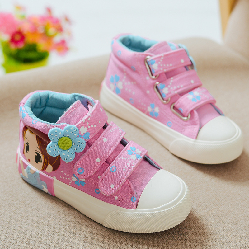 Children's high-top canvas shoes,comfortable pattern children canvas shoes,cartoon casual shoes