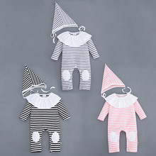 YF3102 autumn striped patch baby jumpsuit lace collar girls baby clothing