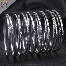 BYQ-00055 new little thin x design fashion big antique silver alloy adjustable bangle bracelet