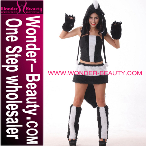 White Black Sexy Fluffy Cat Women Winter Costume