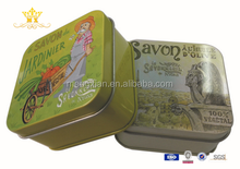 Small rectangular metal soap tin box with custom
