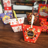 Chinese hand made candy printing boxes with ribbon