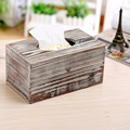 Best selling FSC pine wood handmade wash white distressed wood tissue box