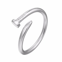 925 Sterling Silver Men Jewelry Nail Ring for Women Punk Style Vintage Special Adjustable Simple Ladies One Ring