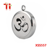 Round Silver Om Mantra 25mm and30mm Aromatherapy Essential Oils Diffuser Locket Necklace 316L Stainless steel