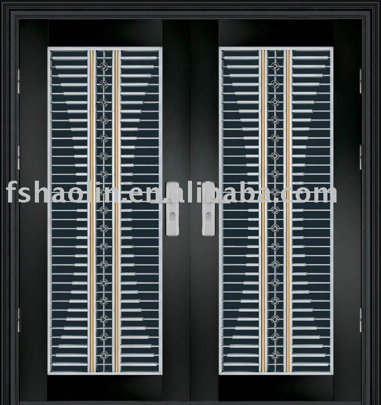 Black color glass double entrance door JH3226