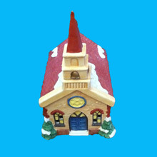 Miniature Ceramic Christmas Village Church for Holiday decorations
