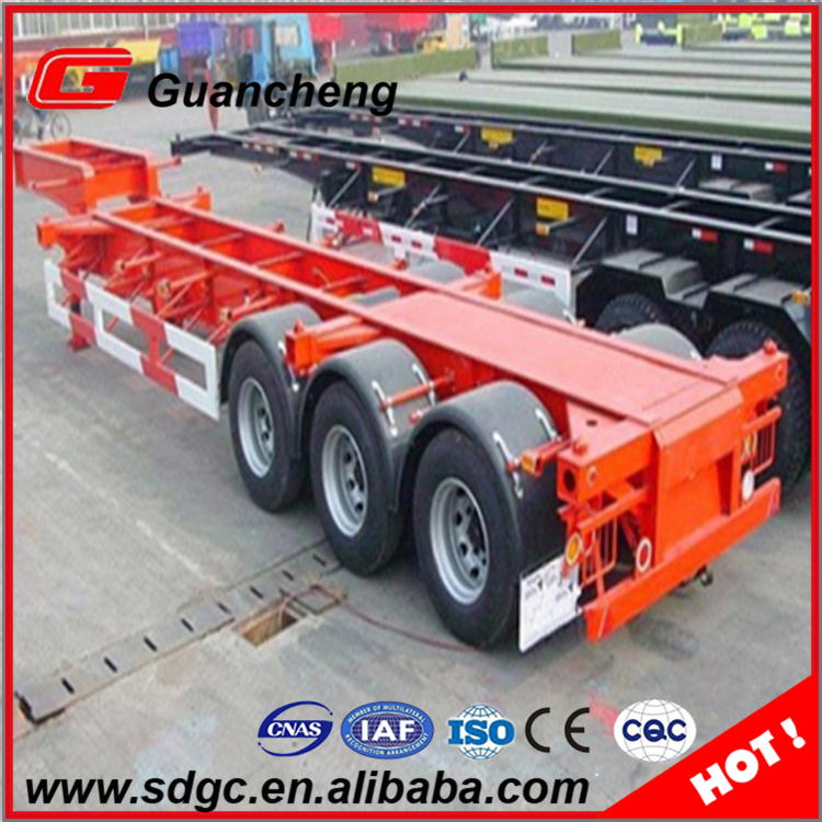 20ft skeleton container trailer 2 axle skeleton semi trailer container chassis