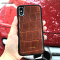 China best supplier for iphone X case Luxury brown crocodile pattern cell phone cover cow leather