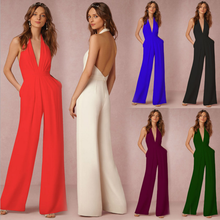 DL20101E 2017 fashion one piece sexy backless women jumpsuits with long pant and sleeveless