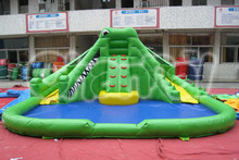 Commercial PVC crocodile inflatable water park slide with pool for kids